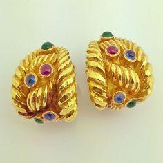David Webb 18K Yellow Gold Sapphire Emerald Ruby Clip Earrings  #webb #davidwebb…