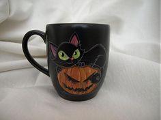 Hrnček - Halloween Kitty by E.G.ART - SAShE.sk - Handmade Do kuchyne