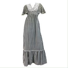 VINTAGE 70s GINGHAM RUFFLE HEM MAXI DRESS w LACE. Check it out! Price: $60 Size: M-L
