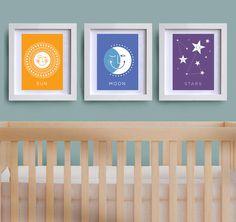 Nursery Art Set of three childrens' prints Sun by LizzieandLeo