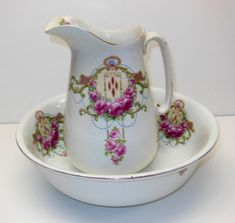 Antique Rosen Porcelain Wash Basin And Water Pitcher Set With Floral Pattern