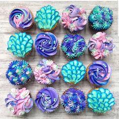 Mermaid cupcakes from milk and water baking co. Disney Desserts, Mermaid Baby Showers, Baby Mermaid, Mermaid Tears, Mermaid Hair, Cupcakes Decorados, Mermaid Theme Birthday, Little Mermaid Parties, Cupcake Cakes