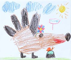 hedgehog from a palm. crayon. 2014. A4.