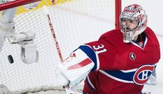 Montreal Canadiens goaltender Carey Price looks back on his goal after being scored on Tampa Bay Lightning's Nikita Kucherov during third period of Game 2 NHL second round playoff hockey action in Montreal, Sunday, May 3, 2015. (Graham Hughes/The Canadian Press via AP)