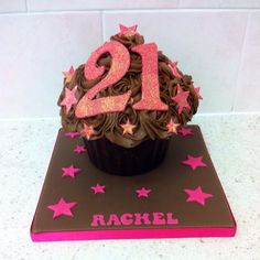 21st giant cupcake chocolate brown & pink  www.icequeencakes.co.uk