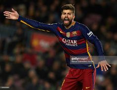 Gerard Pique of Barcelona reacts during the Copa del Rey Semi Final, first leg match between FC Barcelona and Valencia CF at Nou Camp on February 03, 2016 in Barcelona, Spain.