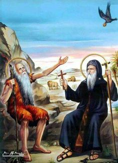 Pola and st. San Paulo, Saint Antony, Anta, Christian Religions, Religious Images, Orthodox Christianity, Orthodox Icons, Sufi, Christian Art