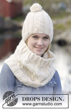 "Winter Glow - Conjunto DROPS de: Gorro y cuello de punto, con torsadas, en ""Cloud"". - Free pattern by DROPS Design"