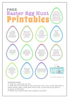 Easter Egg Hunt Printables: Hide the clues and let the fun begin. The perfect Easter egg hunt ideas especially if you want a chocolate free Easter Easter Egg Hunt Clues, Cool Easter Eggs, Hoppy Easter, Easter Stuff, Easter Riddles, Easter Activities, Spring Activities, Holiday Activities, Toddler Activities