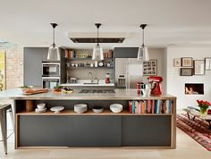 Family kitchen - Contemporary - Kitchen - london - by Roundhouse Family Kitchen, Kitchen Living, New Kitchen, Barn Kitchen, Compact Kitchen, Kitchen Corner, Functional Kitchen, Copper Kitchen, Kitchen Small