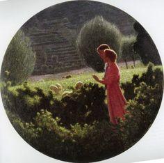 """Giuseppe Pellizza da Volpedo, """"Passeggiata amorosa"""",  1898-1902 ca., olio su tela, diametro cm. 100, #PinacotecaCivica #AscoliPiceno #Marche #Italy"""