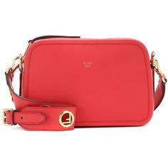 Fendi Camera Case Leather Shoulder Bag (74,170 DOP) ❤ liked on Polyvore featuring bags, handbags, shoulder bags, red, red handbags, red leather purse, fendi purse, leather handbags and shoulder bag purse