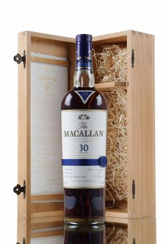 Macallan 30 Year Old, exclusively matured in hand crafted sherry oak casks from Jerez, Spain.   The casks used for this release were previously filled with dry Oloroso sherry and seasoned for up to two years before being emptied and shipped to Macallan to be filled with Macallan new make spirit, then left to gently slumber for over 30 years!