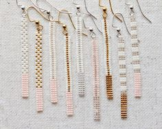 Long Pink and Transparent Silver Lined or Gold Plated /Chevron Pattern/ Stripe Pattern/ Dot Pattern/ Bar Earrings