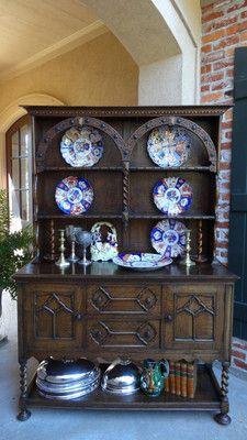 Antique English Oak Sideboard Buffet Barley Twist Welsh Dresser Jacobean Carved