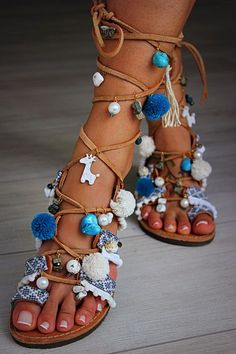 "Tie Up Gladiator Sandals, Greek Sandals, Semi Precious Stones, Swarovski, Pom Pom, Boho Sandals, ""Wave"" by DimitrasWorkshop on Etsy https://www.etsy.com/listing/242750964/tie-up-gladiator-sandals-greek-sandals"