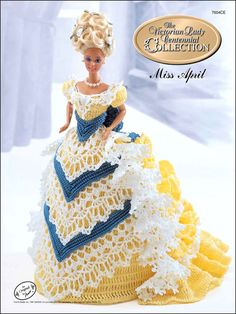 Crochet patterns designed to fit Barbie and fashion dolls. PUBLICATION TITLE: Miss April, 1993 The Victorian Lady Centennial Collection. Miss April, The Victorian Lady Centennial Collection booklet patterns include. Annie's Crochet, Crochet Doll Dress, Crochet Barbie Clothes, Crochet Doll Pattern, Crochet Patterns, Vintage Crochet, Knitting Patterns, Habit Barbie, Free Barbie