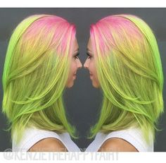 pink neon green hair