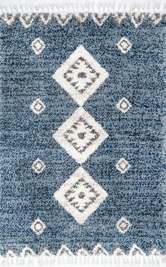 Rugs USA Blue Diamond Totem Shag With Tassels Rug
