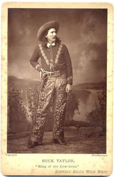 """Buck Taylor """"King of the Cowboys"""" - featured attraction of Buffalo Bill's Wild West. Photo by Woodburytype."""