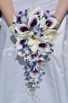 Galaxy orchid bridal bouquet, purple blue island orchid bouquet ...