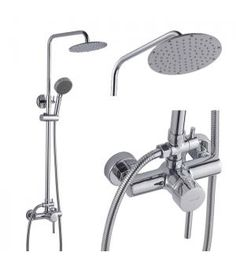 """Features:    ●Luxury wall mounted single handle rainfall shower faucet set 1152  ●Come with brass adjustable shower bar shower arm and water diverter  ●Ceramic disc valve for ease of use with long life  ●Standard size 1/2 """"plumbing inlet connections  ●Comes with all standard accessories and installation parts  ●Meets or exceeds all industry standards and certification"""