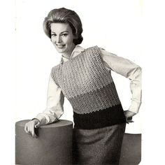 Beginners Knitted Shell Top Pattern, Color Block Big Needle