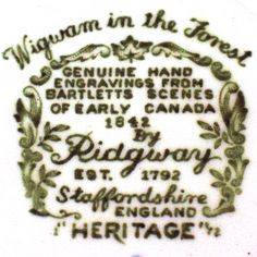 Heritage pattern by Ridgway Pottery - Wigwam in the Forest backstamp