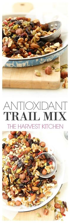 This Antioxidant Trail Mix is a balanced blend of nuts (walnuts, pistachios, hazelnuts and almonds), seeds (pumpkin and sunflower) and dried fruits (cranberries, blueberries, goji berries and cherries). This is one powerful superfood trail mix that is both nourishing and energizing, and it makes a great snack to pack when you're on the go. Healthy snacking never tasted so good! @theharvestkitchen.com