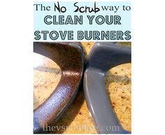 No need to endlessly scrub your grimy stove burners. Place each burner in a large Ziploc bag with 1/4 cup of ammonia and leave outside overnight. The scum can be easily wiped off the next day.  Cleaning hacks for 12 things you thought would stay dirty forever: http://www.hellawella.com/cleaning-hacks-12-things-you-thought-would-stay-dirty-forever