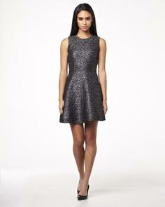 Sleeveless fit and flair dress in silver jacquard Holiday 2013 Collection