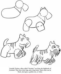 How to draw a Scottie dog Drawing Lessons, Drawing Techniques, Art Lessons, Drawing For Kids, Art For Kids, Learn To Draw, Dog Art, Doodle Art, Easy Drawings