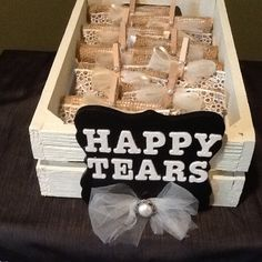 Tears of joy, cry packs, happy tears, wedding tissues, favors, rustic, shabby by Kuzebridalboutique on Etsy