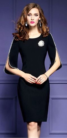 Stylish O-Neck Half Sleeve Bodycon Dress Stylish figure-hugging dress with a scoop neck and a half sleeve Dressy Outfits, Stylish Dresses, Elegant Dresses, Fashion Dresses, Bodycon Dress With Sleeves, Dress Up, Dress Clothes, Prom Dress, Daily Dress