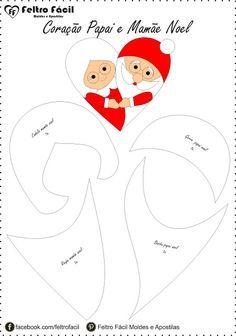 coração, coração de natal, felt, felt christmas, feltro, heart, mamãe noel em feltro, molde, natal, navidad fieltro, Navidade, navidade fieltro claus, Papai noel em feltro, santa claus, Santa Claus felt