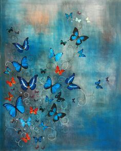 """Saatchi Art Artist: Lily Greenwood; Acrylic 2010 Painting """"SOLD Butterflies on Blue"""""""