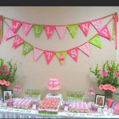 Jillian's baby shower. Sweets table.
