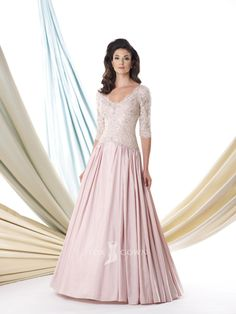 blushing pink scoop neck elbow sleeve lace bodice a-line floor length mother of the bride dress