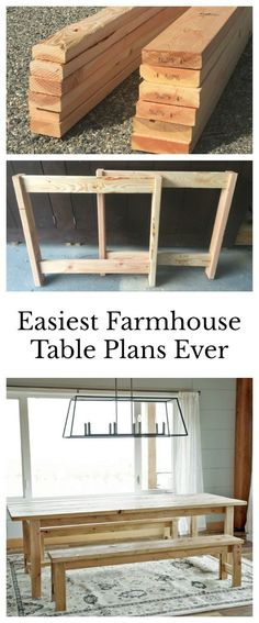 Ana White | Beginner Farm Table (2 Tools + $50 Lumber) - DIY Projects Farm Table Diy, Farm Table Plans, Ana White Farm Table, Anna White Farmhouse Table, Diy Wood Table, Outdoor Farmhouse Table, Ana White Bench, Farm House Tables, Pallet Dining Table