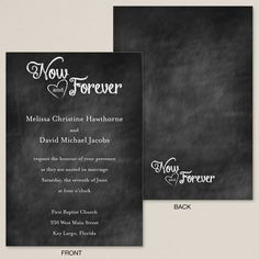 Now and Forever Chalkboard Wedding Invitation