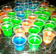 Virgin jello shots for Sweet 16 Rave Theme Party