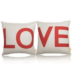 "OJIA 18 X 18"" Cotton Linen Decorative Couple Throw Pillow Cover Cushion Case Couple Pillow Case, Set of 2 - Love OJIA http://www.amazon.com/dp/B00F8VBJTM/ref=cm_sw_r_pi_dp_htGNub1551F1C"