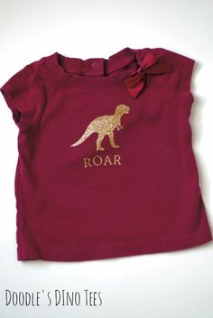 Girls 18 month Maroon and Gold T-Rex Shirt Dinosaur Tee Shirts for Girls who love Dinosaurs by Doodles Dino Tees on Etsy!