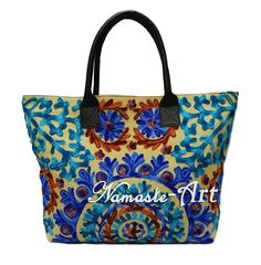 Indian Cotton Suzani Tote Shoulder Embroidery & Suzani Handbag Woman Beach Boho #Unbranded #TotesShoppers