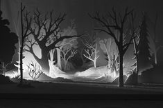 i am a forest by alex schulz a stop-motion animated short featuring a papercut forest + characters Silhouette Cameo, Forest Silhouette, Set Design Theatre, Stage Design, Stop Motion, Conception Scénique, 3d Cuts, Licht Box, Stage Set