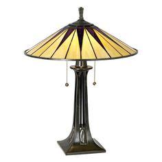 Quoizel Gotham Antique Bronze Tiffany Style Table Lamp - Style # 05314