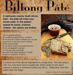 Amazing spread for bread, crackers and cheese. It tastes amazing! Never thought you could use biltong (similar to beef jerky) as a pate. You can even use beef jerky instead of biltong. Braai Recipes, Wine Recipes, Snack Recipes, Cooking Recipes, South African Dishes, South African Recipes, Kos, Banting Recipes, Biltong