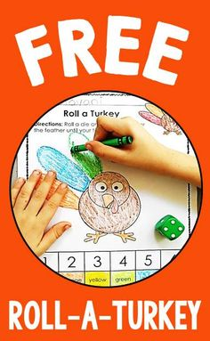 FREE roll-a-turkey activity - great for kindergarten math centers or stations in November