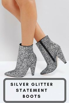 Silver Glitter Statement Boots #statement #boots
