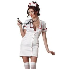 InCharacter Temperature Rising Nurse Costume This sexy nurse costume is sure to create some body heat this Halloween! Costume features a stretch satin, snap-up mini dress, hat, and toy stethoscope. ** Normally includes white thigh high stockings but I'm not sure where their whereabouts are!  ** Only worn to try on, I've outgrown this since then! Please see Picture #3 for measurements - this listing is for a Size MEDIUM. InCharacter Dresses Mini